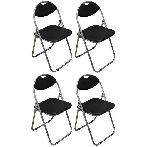 Harbour Housewares Black Padded, Folding, Desk Chair - Pack of 4