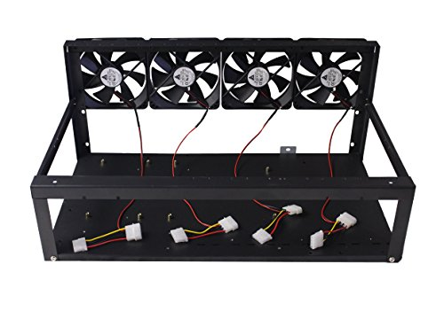 (8 GPU Open Air Mining Kit - Easy to Assemble Case with Optional Fans and PCI-E 16x to 1x Risers - Open Air Frame Compatible with 6 GPU and 8 GPU rigs (Bitcoin, Ethereum) (Frame + Fans))