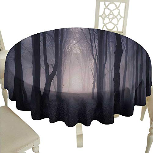 longbuyer Round Tablecloth Vinyl Fitted Forest,Path Through Dark Deep in Forest with Fog Halloween Creepy Twisted Branches Picture,Pink Brown D54,for 40 inch Table ()