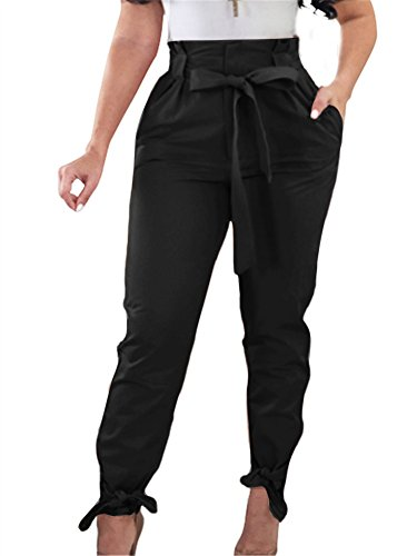 GOBLES Women Solid Casual Work Trousers High Waist Ruffle Bow Tie Pants (Tie Bottom Pants)