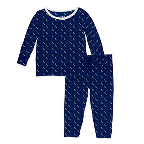 (Kickee Pants Little Boys Custom Print Long Sleeve Pajama Set - Navy Dragonfly with Natural Trim, 4T)