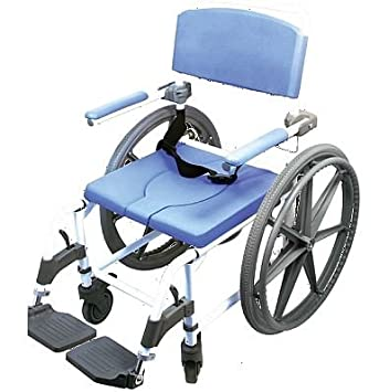 Attendant Shower Wheelchair Bath Toilet Commode Aluminum Adjustable 18 In.  Seat Wide With 24u0026quot;