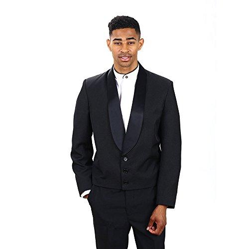 (Men's Black Eton Jacket With Black Lapel 3X Large Long)