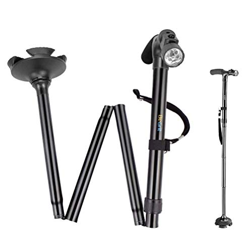 BeGrit Folding Cane Walking Stick - Adjustable Height Lightweight Collapsible Walking Cane with LED Light Non Slip for Men and Women