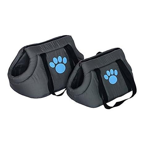 Nobleza Pack de 2 Bolsos Transportín de Distintos Tamaños, Perros o Gatos, Acolchado Color Negro con Huella Decorativa Color Azul.: Amazon.es: Hogar