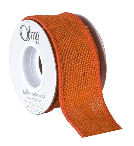 Offray Wired Edge Burlap Craft Ribbon, 1 1/2-Inch x 9-Feet, Orange -