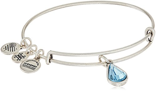 Alex and Ani March Birth Month Charm with Swarovski Crystal Rafaelian Silver Bangle Bracelet (Bracelet Charm Swarovski)