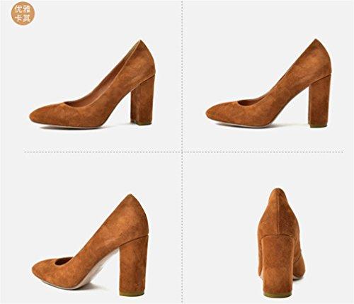De LUCKY 3 A EU39 Couleur Mariage en Bureau Brown Party Cour Chaussures Hauts Satin Dating Sandales Blink Dress Femmes Pompes Mariée Chaussures Sandales Pointu CLOVER Talons rfqgBrP