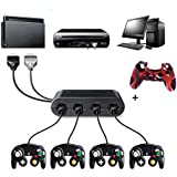 Gamecube Controller Adapter NGC Controller Adapter Super Smash Bros Gamecube Adapter for Wii u, Pc, Switch Nintendo Switch No Driver Need (black2, 1 x Gamecube Controller Adapter+1xcover)