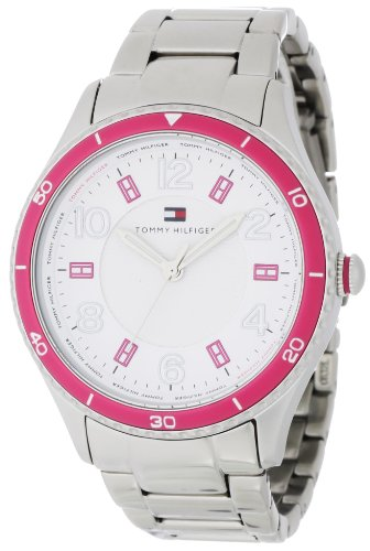Tommy Hilfiger Women's 1781057 Sport Bracelet with Pink Bezel and Textured White and Pink Dial Watch