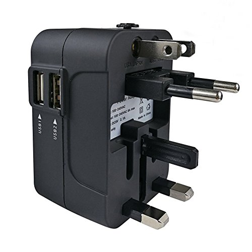 Travel Adapter, JMcolo All in One Universal International Power Adapter Converters USB Wall Charger AC Plug Adapter with Dual USB Charging Ports for USA EU UK AUS Cell phone laptop (Black)