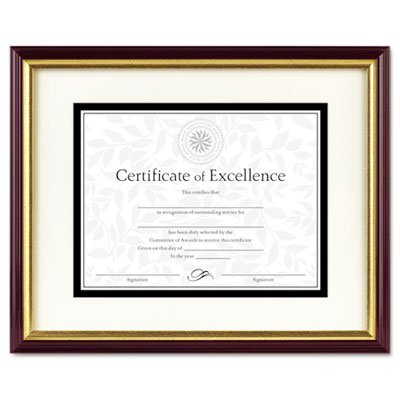 Award Plastic Certificate Frame - Document/Certificate Frame w/Mat, Plastic, 11 x 14, 8 1/2 x 11, Mahogany/Gold, Sold as 1 Each