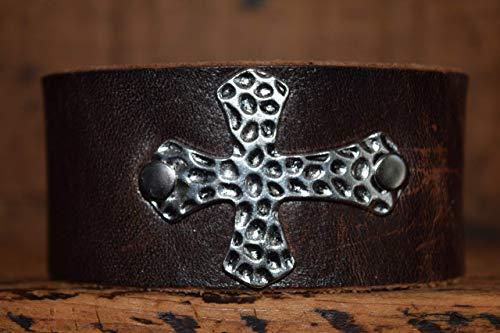 Magnolia Studio Cross Leather Bracelet Cuff For Women Wristband Bangle Wrap Gift