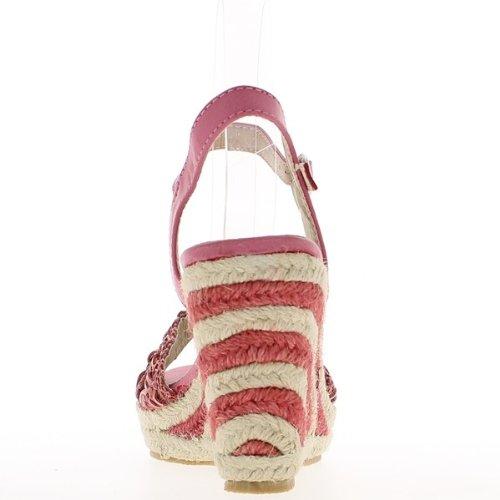 Sandales compensées roses look espadrilles à talons de 10cm et plateau de 3cm