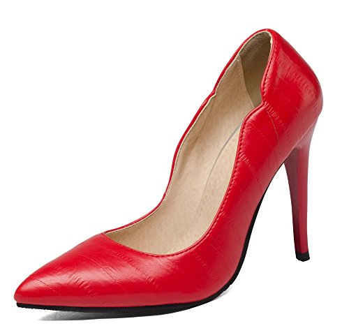 Pull Pumps Toe Women's PU Red Solid WeiPoot Closed Heels High On Shoes fq5Wp