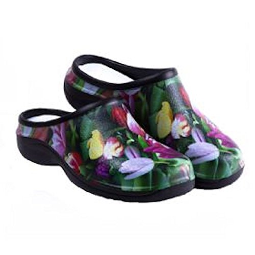 (Waterproof Premium Garden Clogs With Arch Support-Tulip Design by Backdoorshoes  Black 9 B(M) US)