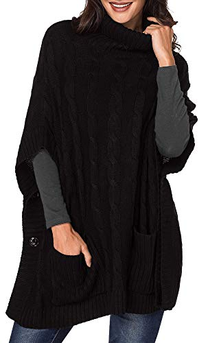 - Yingkis Women's Poncho Sweater Turtle Cowl Neck Batwing Sleeve Pullover Sweaters with Pockets,Black