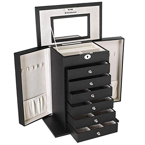 - SONGMICS Black Jewelry Box Large Cabinet Faux Leather Storage Case Organizer with Lock and Mirror UJBC06B