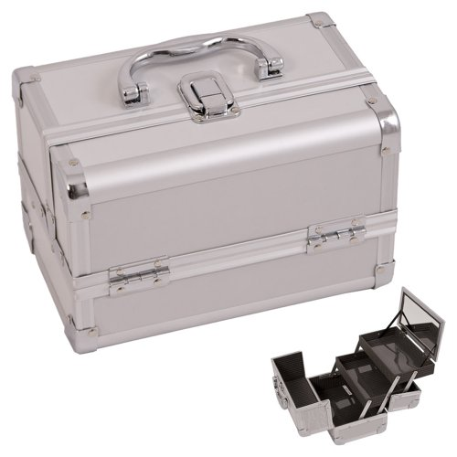 Justcase Silver 2-Tiers Extendable Trays Professional Light Weighted Makeup Artist Cosmetic Train case Lockable Box / Kit / Bag With Mirror Tier Mirror Display