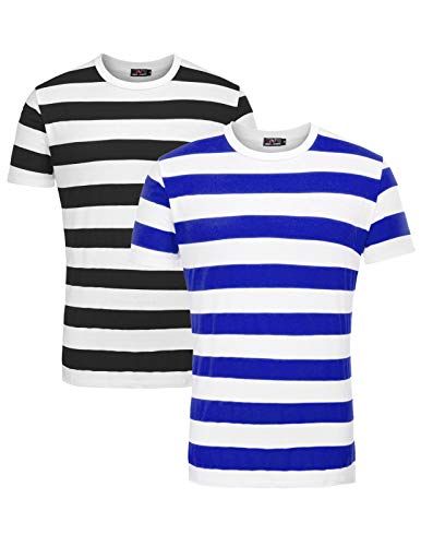 Classic Men's Cotton Tee Tops with Stripe 2 Pack Black and Royal Blue, X-Large