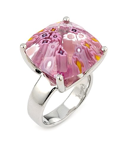 Radiant Pink Murano Millefiori Glass Ring 925 Sterling Silver Size 7
