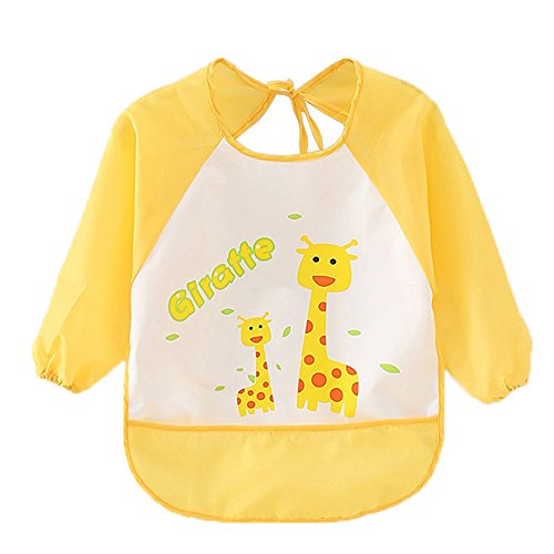 Cute Cartoon Unisex Infant Toddler Baby Waterproof Sleeved Bib, Baby Toddler Smock (6 Months-3 Years) (How Long Is A Light Year)