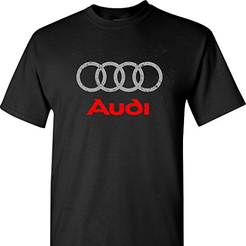 Audi Distressed Logo on a Black T Shirt,Black,Large
