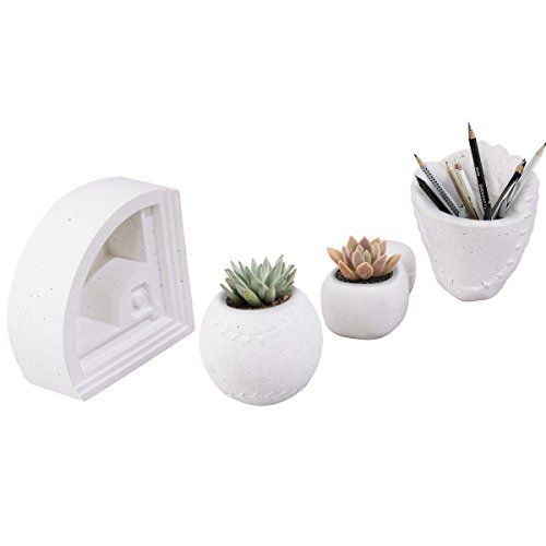 Taiwan Present CHING-PU Concrete Succulent Plant Pot, Baseball Themed Planter, Set of 4