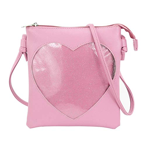 SteamedBun Ita Bag Heart Crossbody Bags for Women Girls Small Clear Phone Wallet Shoulder Purse with zipper ()