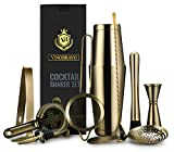 Boston Cocktail Shaker Bar Set by VinoBravo: 18oz & 28oz Shaker Tins, Hawthorne Cocktail Strainer, Double Jigger, 12'' Mixing Spoon, 7'' Drink Muddler and 30 Classic Recipes