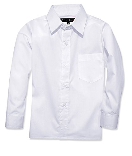 Johnnie Lene Boy's Long Sleeves Dress Shirt from Baby to Teen JJL32 (6, White) -