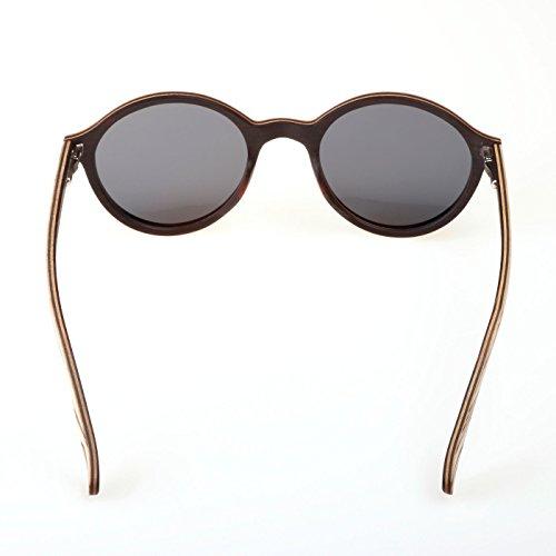 en gafas estilo WOLA ò madera de sol redondas polarisada Bianco Legno UV400 madera HELIO sunglasses bambú nfBB4v