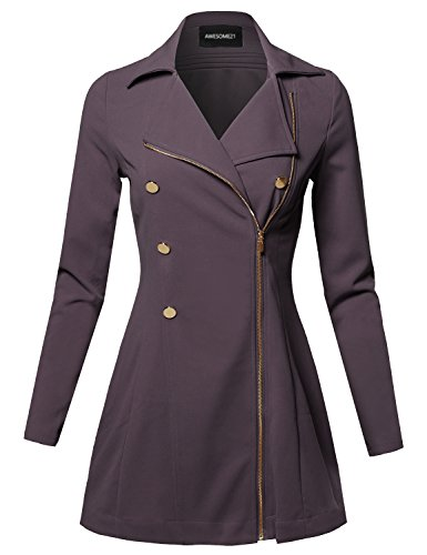 Classic A-Line Double Breasted Zipper Closure Stretch Peacoat Lilac gray Size L Cropped Double Breasted Peacoat
