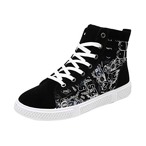 TIFENNY Casual Fashion Print Shoe Men's Lace-UP High Help Sport Shoes Non-Slip Digital Printing Sneakers Canvas Shoes (Best Nerf Digital Cameras)