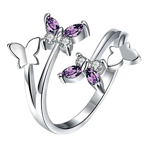 Freedi Women Open Rings Adjustable Crystal Diamond Butterfly Wedding Engagement Rings Fashion Jewelry Gift for Girls (Fashion Teenage)