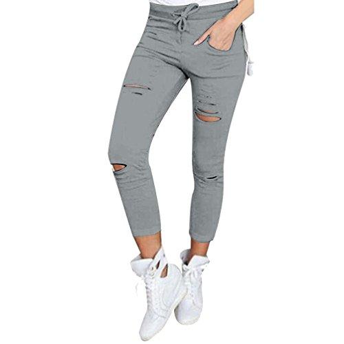 Slim Haute Femmes Rasé Vovotrade® Skinny Crayon 4xl Taille Pantalon size Gris Troué w5qU66p