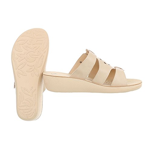 Ital-Design Zapatos Para Mujer Sandalias de Vestir Plano Zuecos Beige