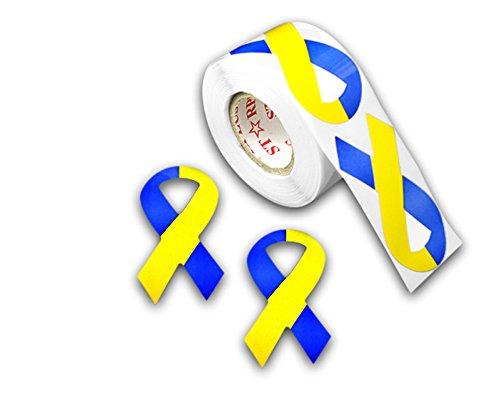 Large Blue & Yellow Ribbon Stickers - (1 -