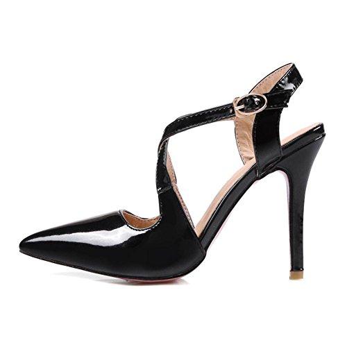 Zapato Black 3 Zapatos Sandalias Tobillo Corte Tacón Nvxie 35 uk Nupcial Eur Del eur41uk758 Zapatos Dedo Boda Strappy Correa Zapatillas Pie Mujeres Puntiagudo Estilete Alto wqfx0g