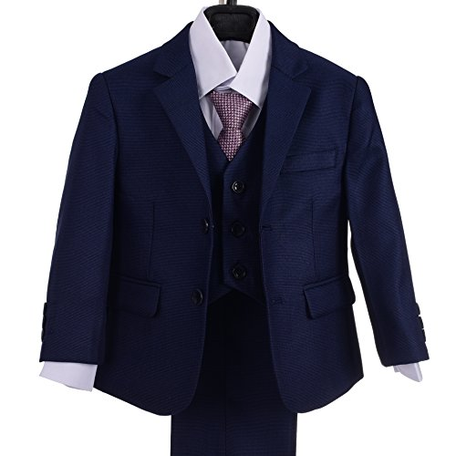 Dressy Daisy Boys Formal Dress Suits 5 Pcs Set Modern Fit Wedding Outfit Dresswear Size 2T Navy Blue by Dressy Daisy
