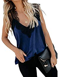 3d20cffa227b Women s V Neck Lace Strappy Cami Tank Tops Casual Loose Sleeveless Blouse  Shirts