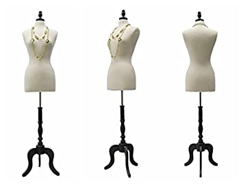 Female Dress Forms ROXYDISPLAY/™ New White Female Body Solid Form Size 6-8 Medium With Wooden Base JF-FWP-W+BS-02BKX