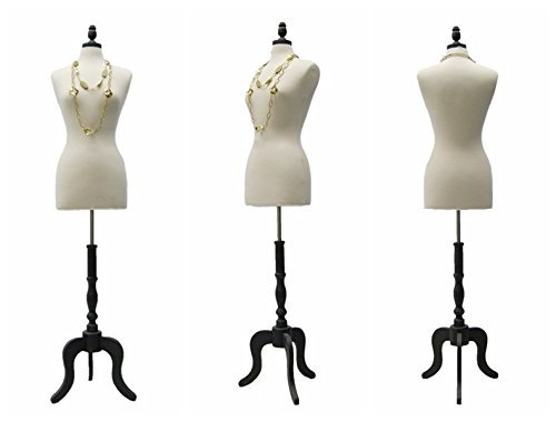 (JF-FWP-W+One Free Black Cover+BS-ATQ-BK) Size 6-8 Medium White Female Pinnable Dress Form Mannequin With Antique Style Tripod Wood Base+Cap