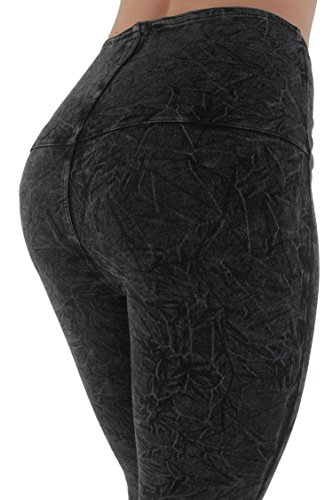 12113 - LAVO Jeans - Stretch High-Waist Acid Washed Skinny Pants in Washed Black Size L