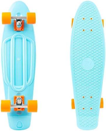New Retrospec Skateboard Complete 27 Inch Quip Cruiser Retro Sky Blue-Orange...