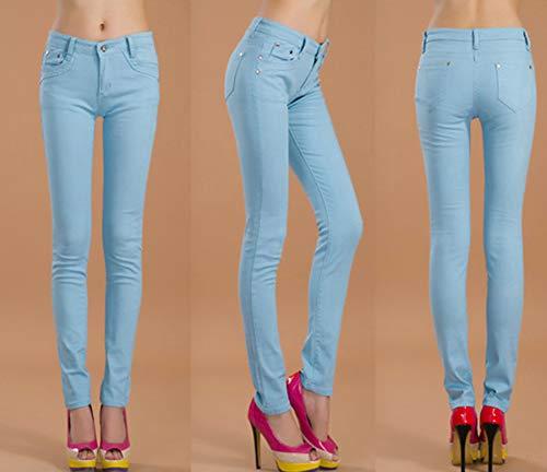 Stile Corti Slim Casual Pantaloni Blu Elasticità Sottili Jeans Cielo Leggings Donna Snone Matita Autunno Trend Skinny A Lunghi X8nwzxqg