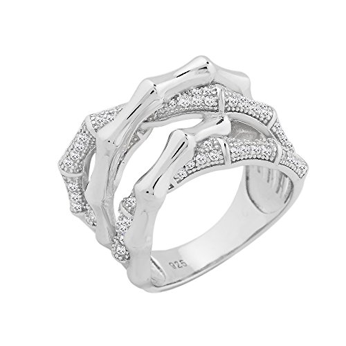 Evan Jewels, EV5-5042 Entwined Sterling Silver Ring with Cubic Zirconia (S-7) by Evan Jewels