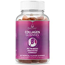 Collagen Gummies Supplement Marine Sourced – Supports Skin, Hair & Nails | Pectin Based. Tropical Flavored 60 Count