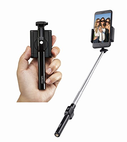 Mini Bluetooth Selfie Stick, with Patented 360 Degree Rotating Holder and Bluetooth Remote, Premium Quality, Works with All iPhones and Most Android Smartphones, Black color by Cellways