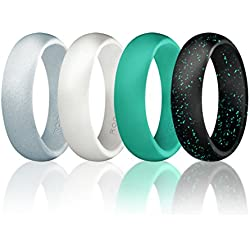 ROQ Wedding Ring for Women by Silicone Rubber Wedding Bands, Size 4, Black with Glitter Sparkle Teal/Teal Turquoise/White/Metal Look Silver, Set of 4